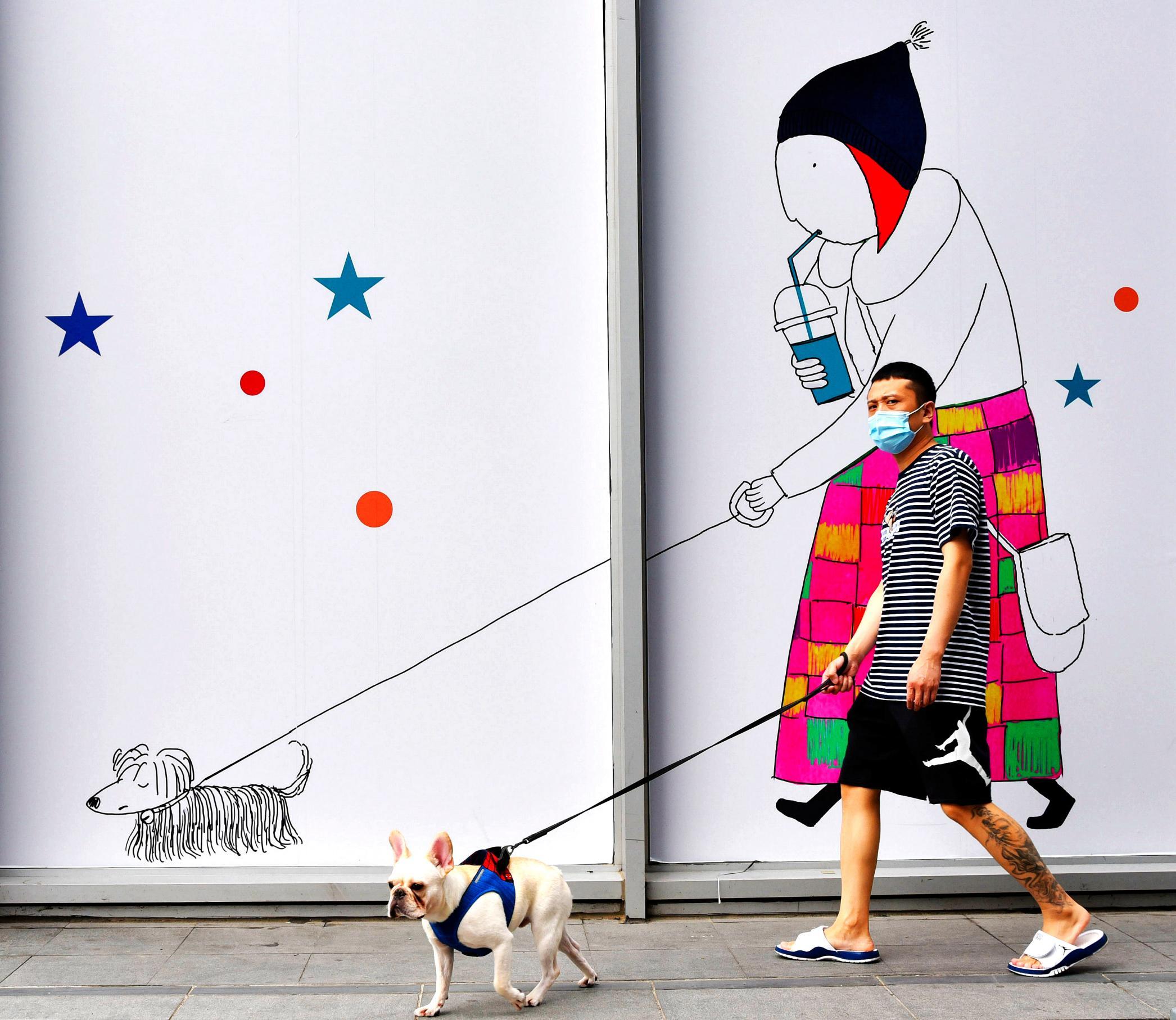 hk_c_1、楊軍  北京市朝陽區三里屯,一遛狗的男子走在街上,與傍邊建築圍擋牆上的遛狗卡通畫構成巧合,看上去十分有趣。攝於2020年2020年7月11日.jpg